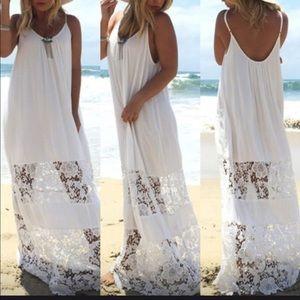 Beautiful Boho Style Lace Maxi Beach Dress